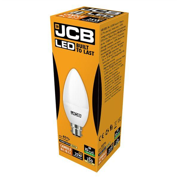 JCB 3W B22 Candle LED - 25W Replacement - 250lm - 3000K - Non Dimmable
