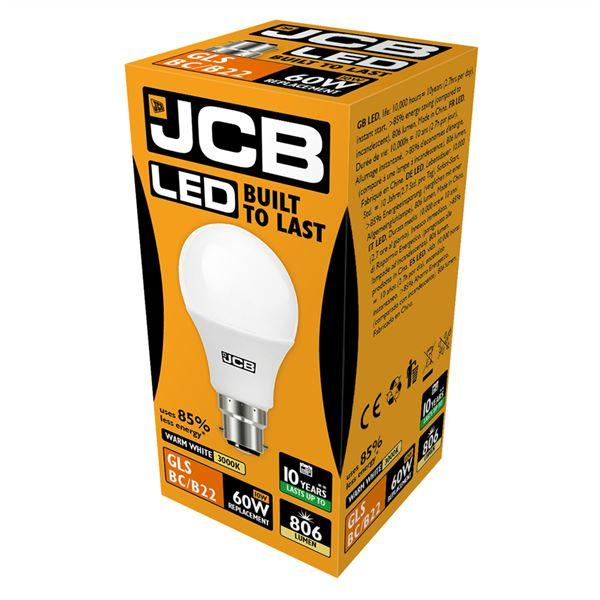JCB 10W B22 GLS LED - 60W Replacement - 806lm - 3000K - Non Dimmable