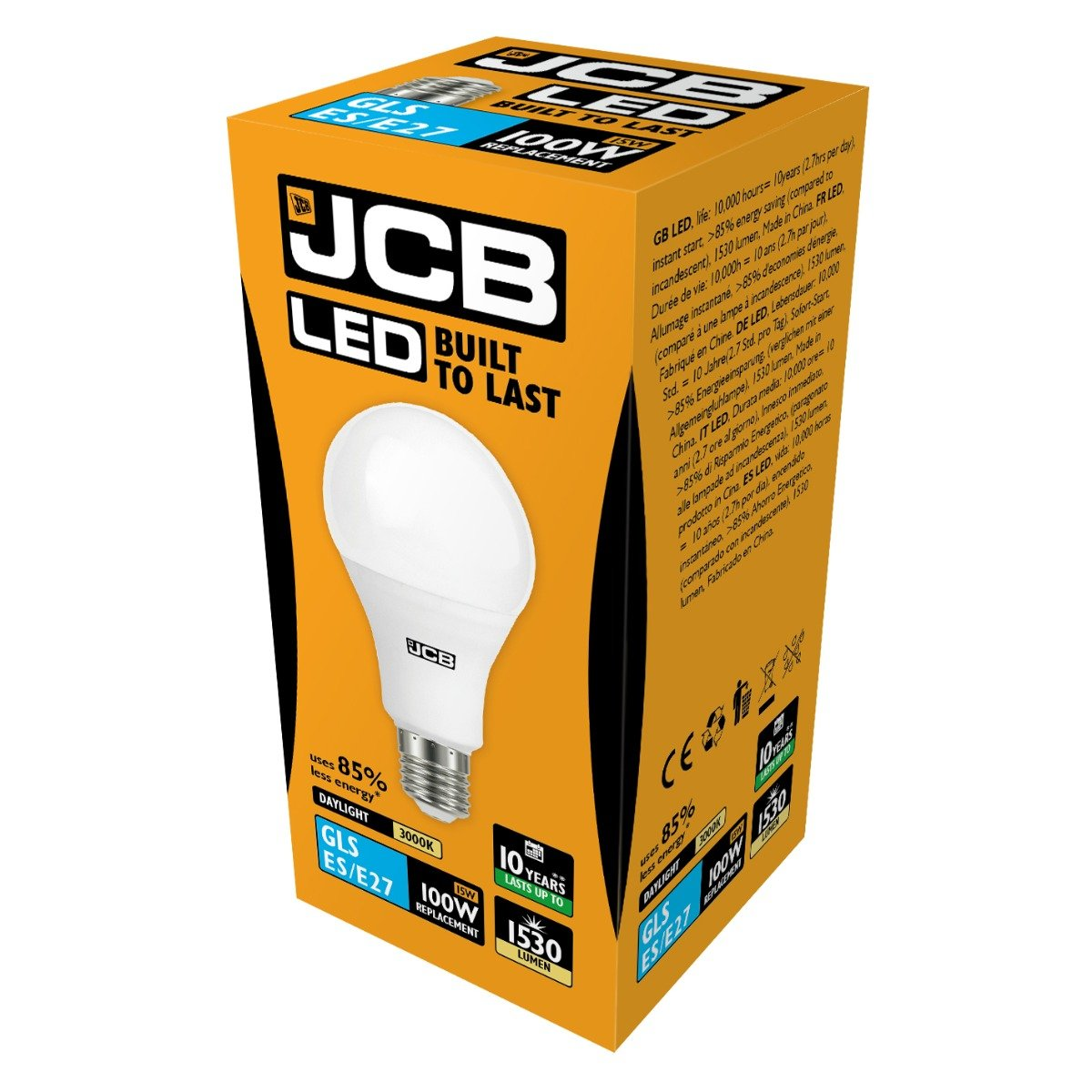 JCB 15W E27 GLS LED - 100W Replacement - 1530lm - 3000K - Non Dimmable