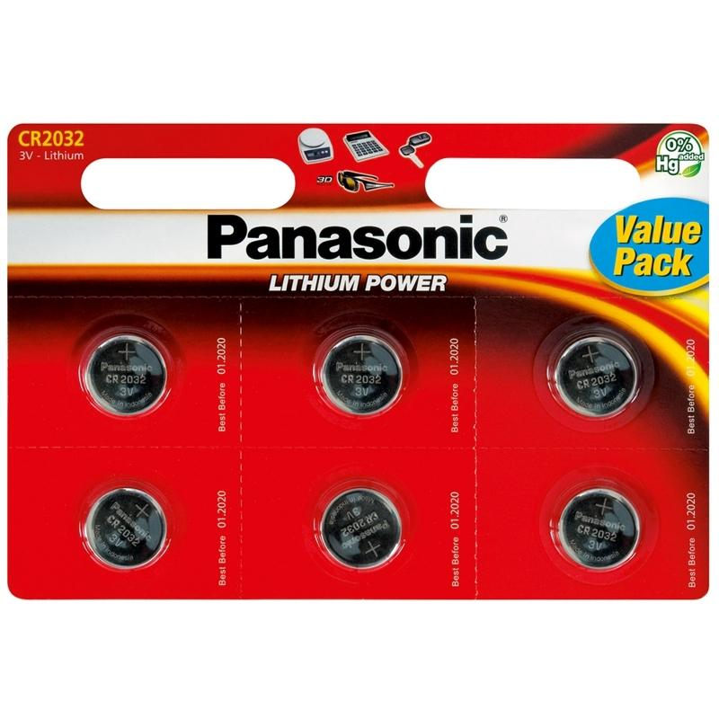 Panasonic CR2032 3V Lithium Coin Cell Batteries 6PK