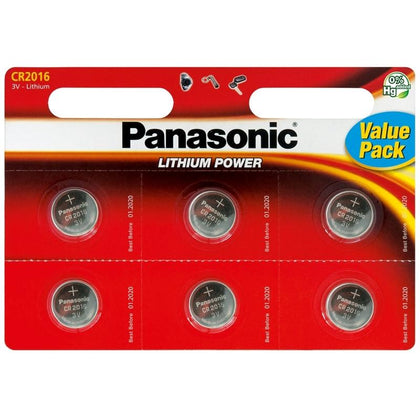 Panasonic CR2016 3V Lithium Coin Cell Batteries 6PK