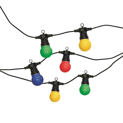 LED 20x Globe Lightbulb Festoon String - Coloured