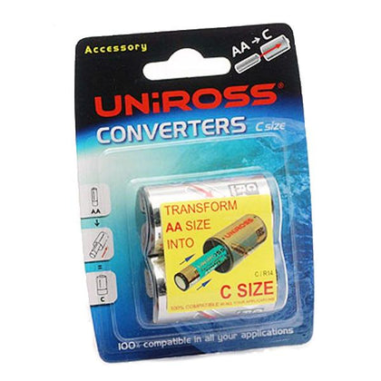 Uniross C Size Battery Converters Pack of 2 (AA to C)