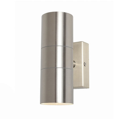 Zinc Outdoor 2-Light Wall Light Fixture - Stainless Steel