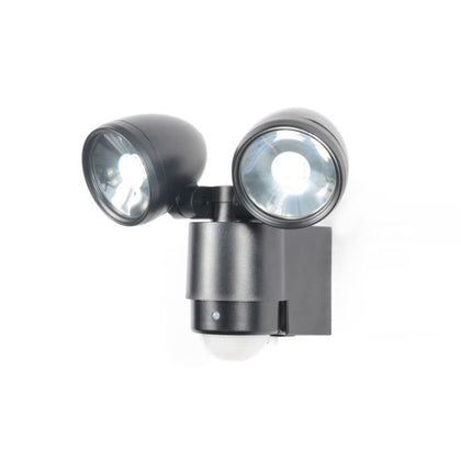 Zinc Outdoor 2-Light Wall Light Fixture - Black - PIR Sensor