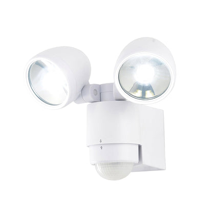 Zinc Outdoor 2-Light Wall Light Fixture - White - PIR Sensor