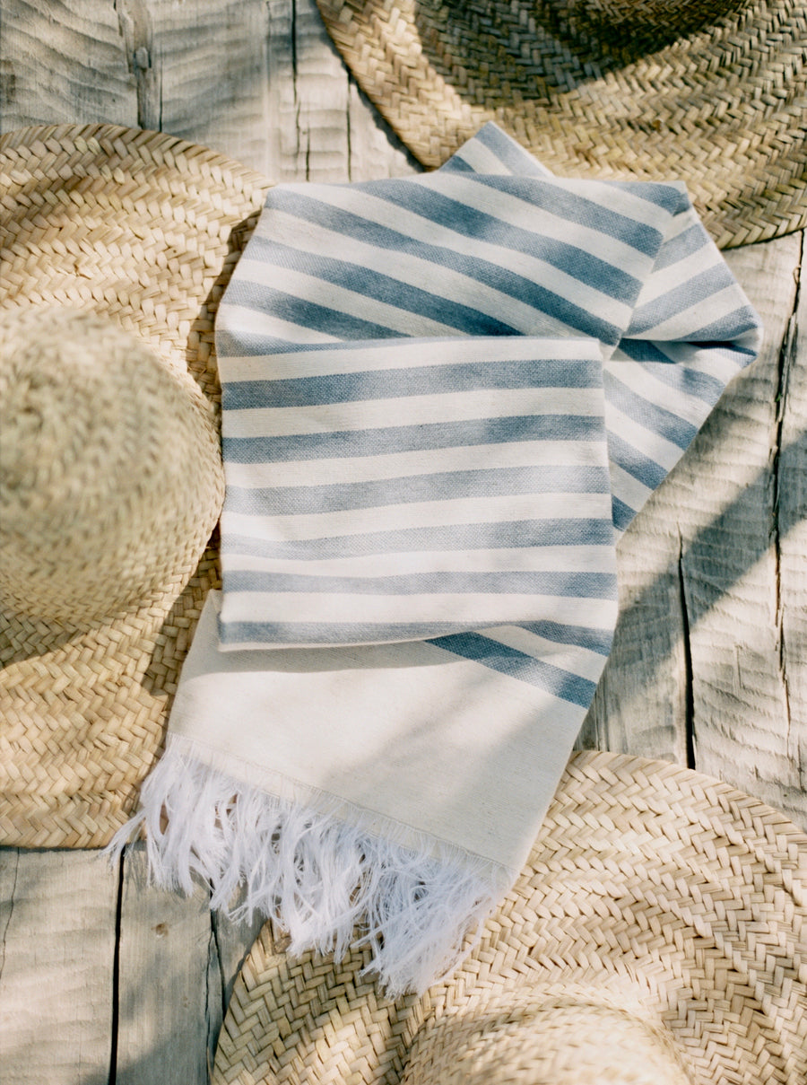 Hammam Towel - Blue with Natural Stripes