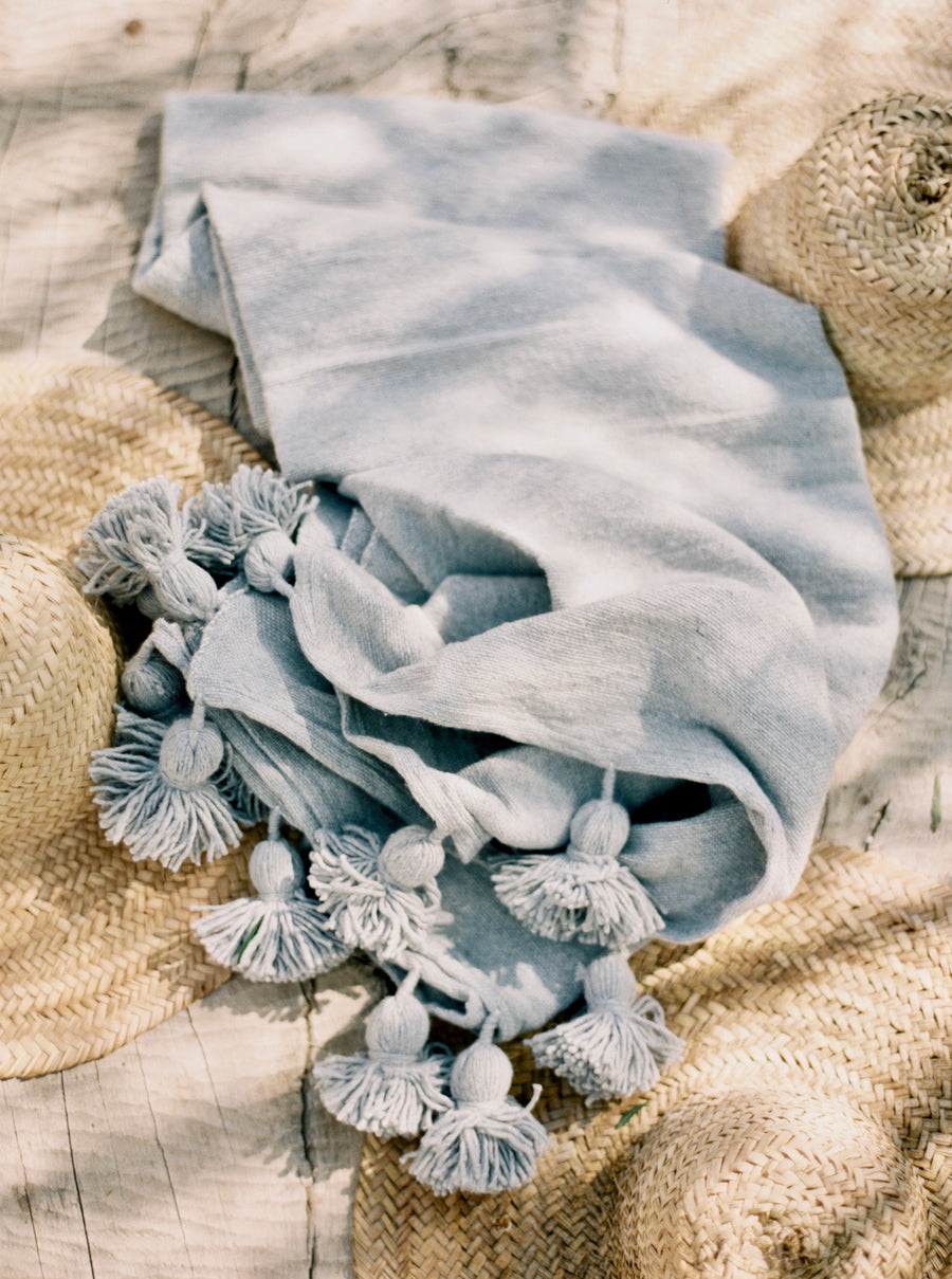 Cotton Pom Blanket - Medium - Dusty Blue