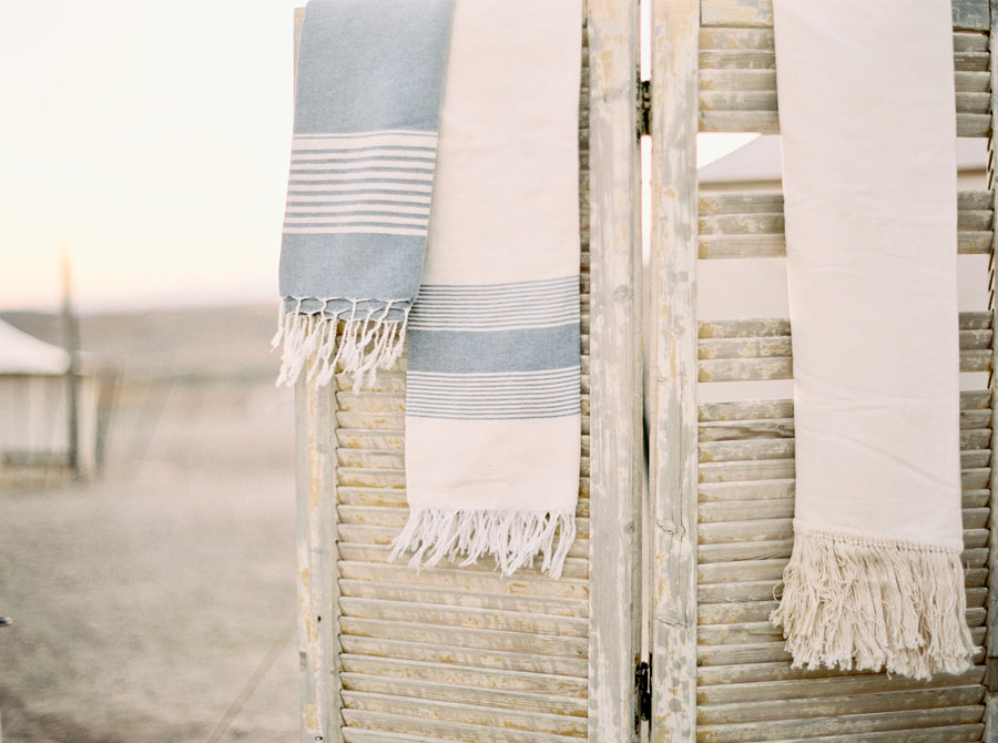 Egyptian Cotton Fringe Towel - Natural with Blue Stripe