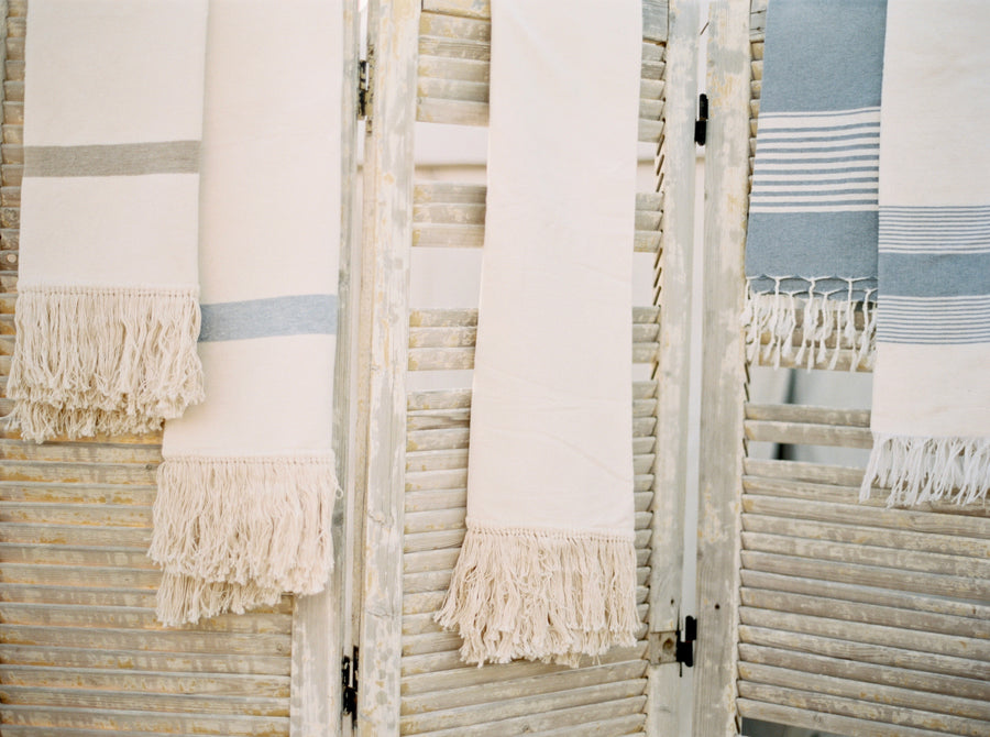Egyptian Cotton Fringe Towel - Natural with Beige Stripe