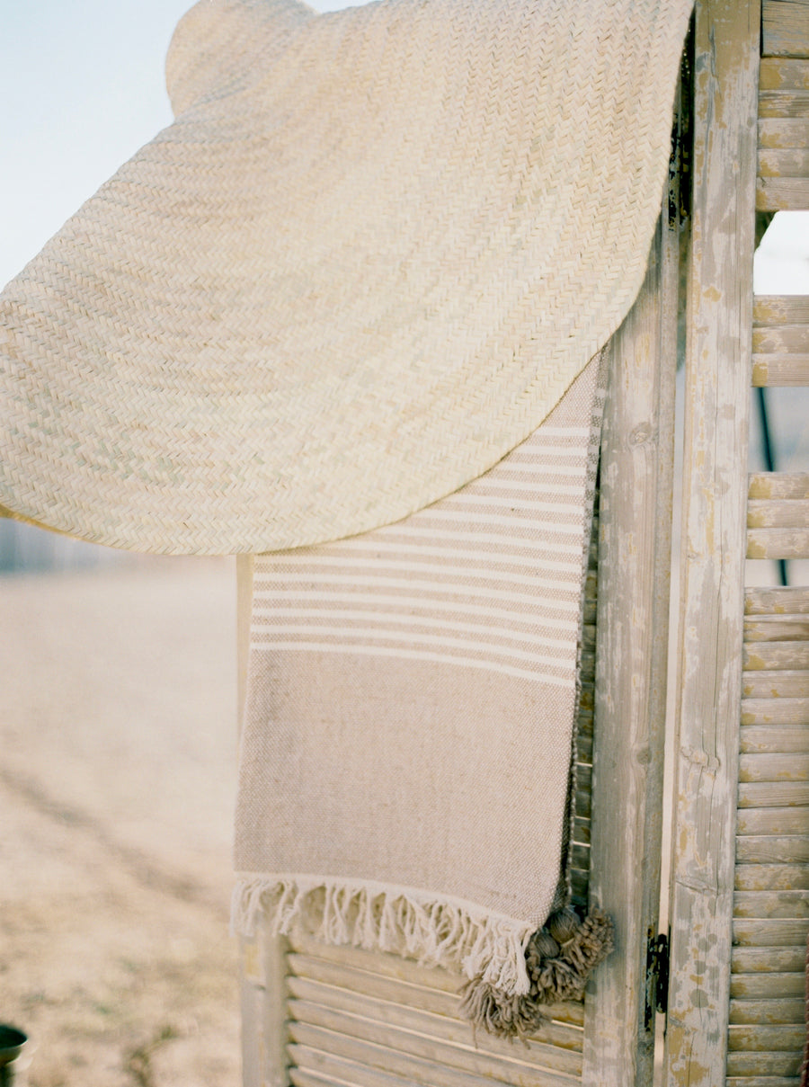 Wool & Cotton Fringe blanket - Sand Stripe