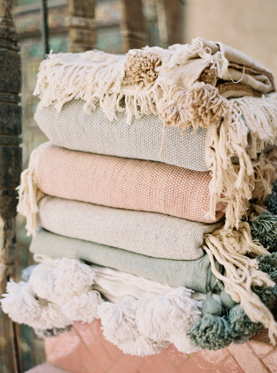 Wool & Cotton Fringe blanket - Sage
