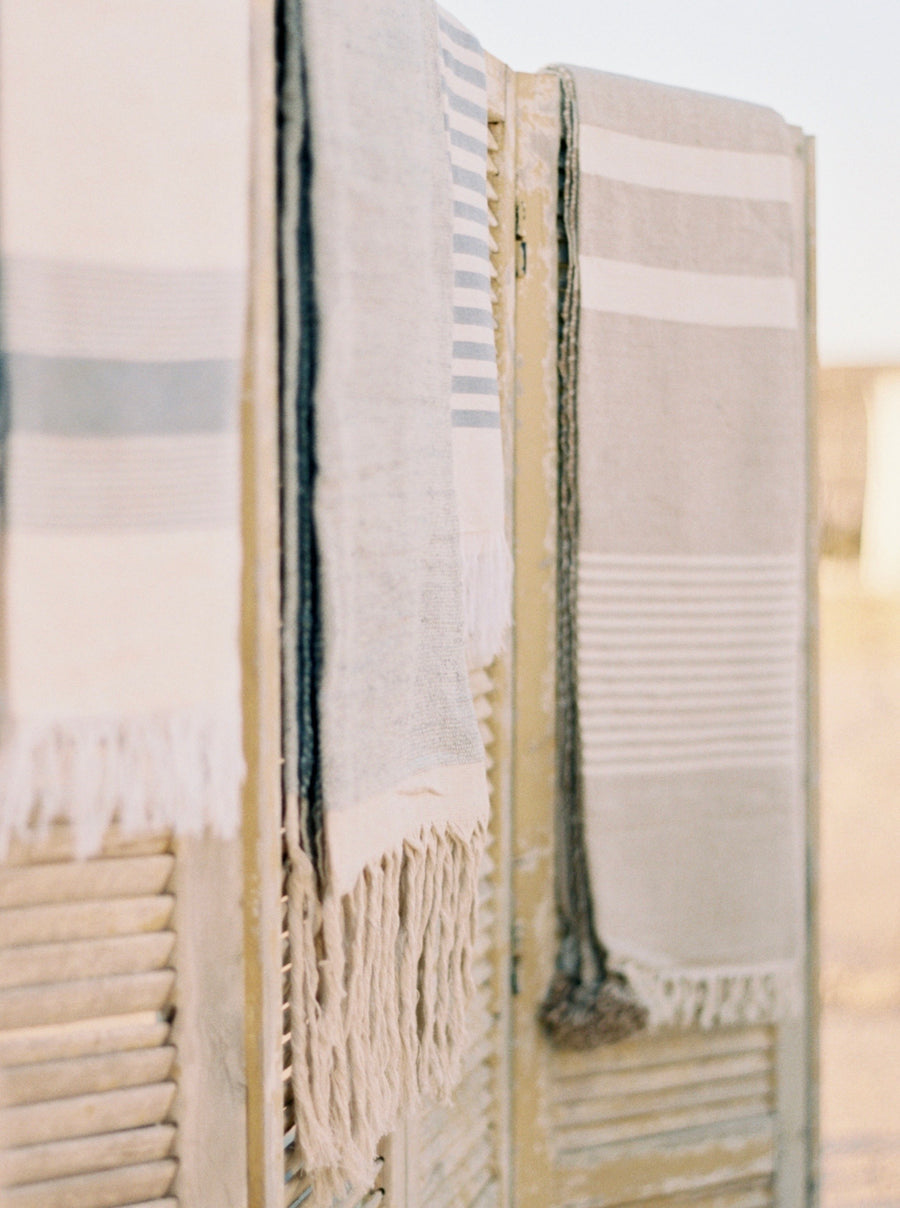 Hammam Towel - Blue & Natural Stripes