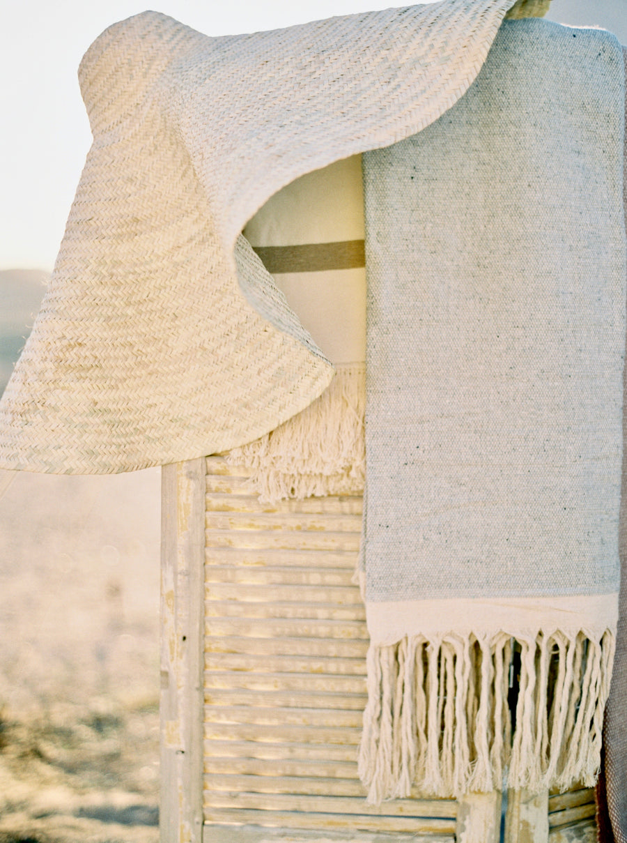 Wool & Cotton Fringe blanket - Dusty Blue