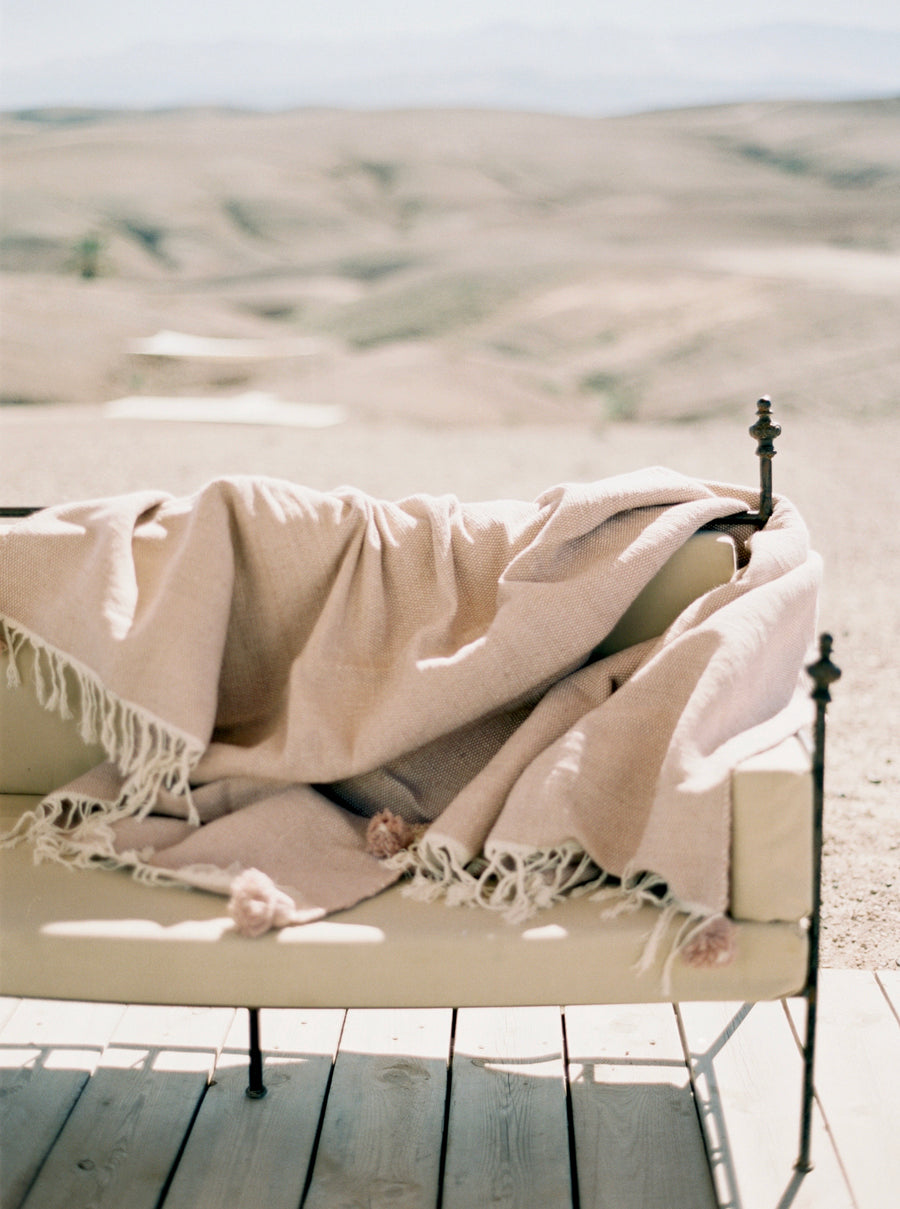 Wool & Cotton Fringe blanket - Rose