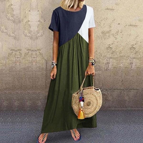 Plus Size Stitching Color Maxi Dress