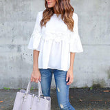 Solid Color Lace Stitching Ruffle Sleeve Blouse