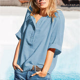 Women  Solid Color Buttoned Summer Blouses