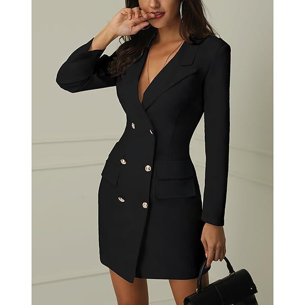 V-Neck Buttons Long Sleeve Dress