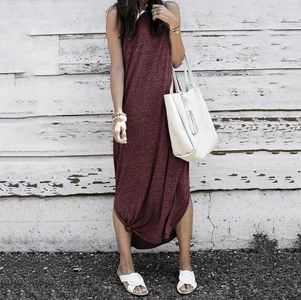 Fashion Sleeveless Color Maxi Dress