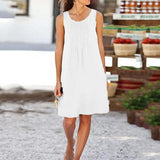 Round Neck Solid Color Sleeveless Dress