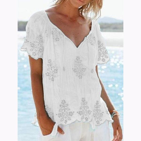 Casual V Neck Printed Blouse