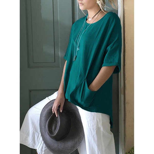 New Plus Size Round Neck Sleeve Irregular T-Shirt