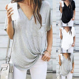 Casual Women V Neck Cotton Short Sleeve Summer Blouse