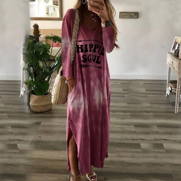 Printed casual long round neck long sleeve Maxi dress