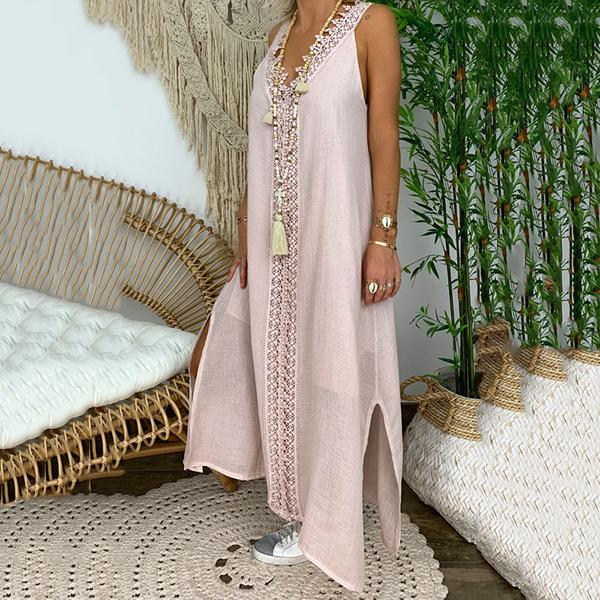 Solid Color Sleeveless V Neck Maxi Dress
