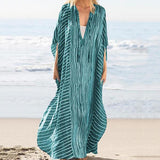 Plus Size Stripe Irregular V Neck Maxi Dress