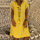 Casual Loose Pineapple Printed Dresses