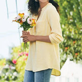 Solid Color V Neck Pocket Blouse