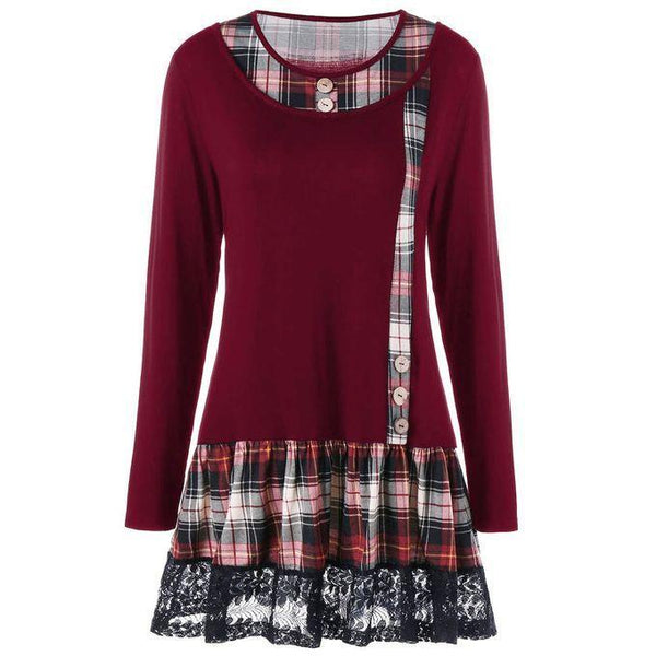 Women's Plaid Lace Long Sleeve Bottoming Dress