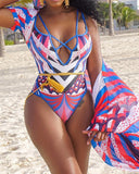 Colorful Print One Piece Swimwear With Cover Up