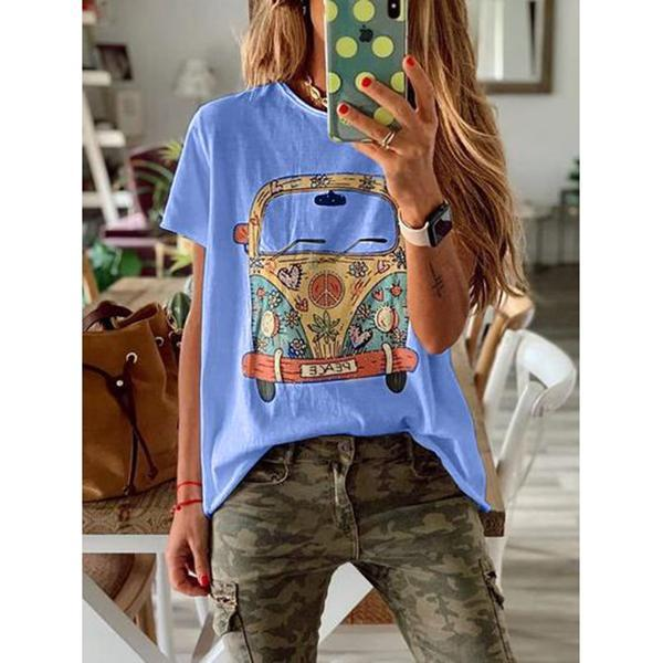 Casual Round Neck Cartoon Printed Blouse
