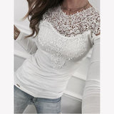 Casual Women Patchwork Lace Long Sleeve Blouse