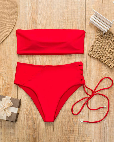 Lace-up Side High Waist Bikini Set