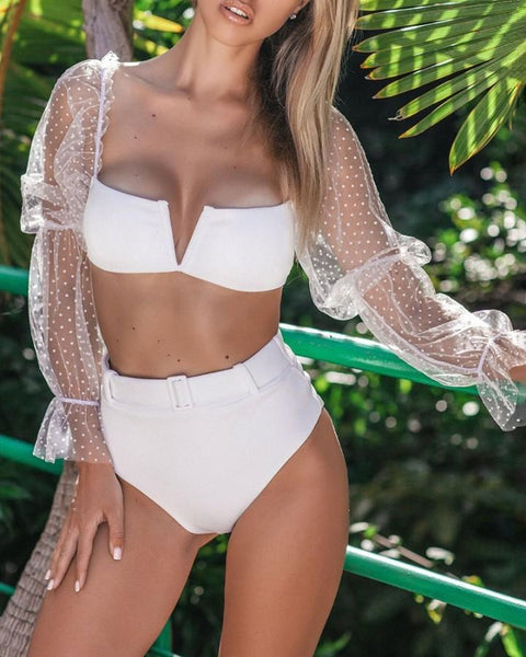 Sheer Mesh Long Sleeve Top & Bikini Set