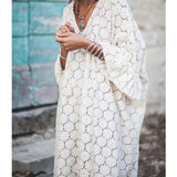 Summer New Loose Lace Trumpet Sleeve Plus Size Dress