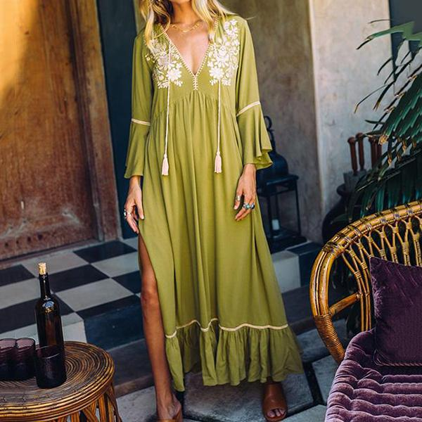 Bohemian Printed V Neck Tassel Maxi Dress