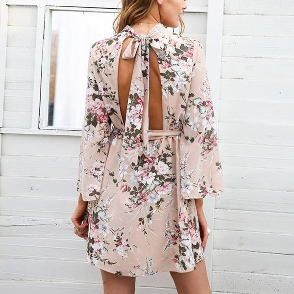 Casual Backless Flower Printed Dress
