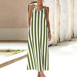 Casual Spaghetti Straps Stripe Summer Maxi Dress