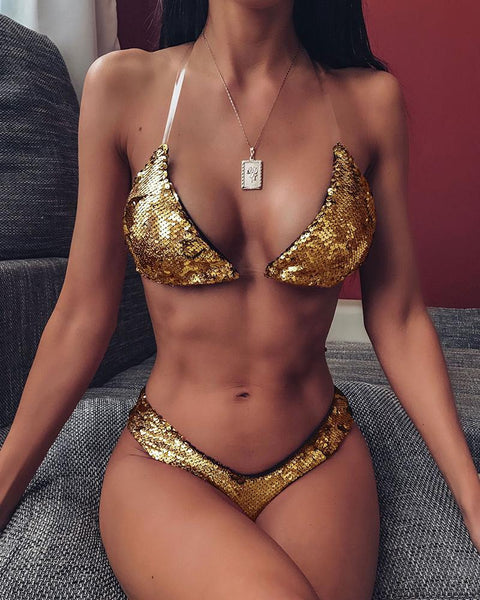Clear Strap Sequin Bikini Set
