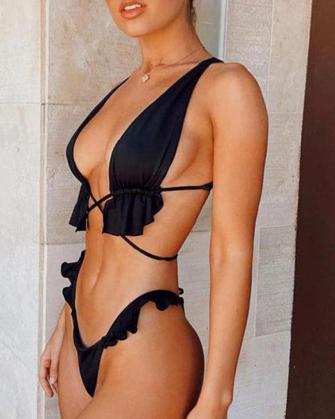Tie Front Triangle Bikini Set