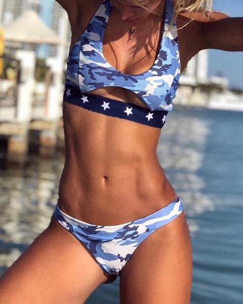 Cut Out Camo Print Bikini Set