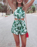 Palm Print Two-Piece Swimsuit