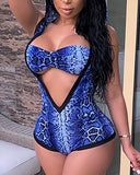 Snakeskin Print Hooded Bikini Sets