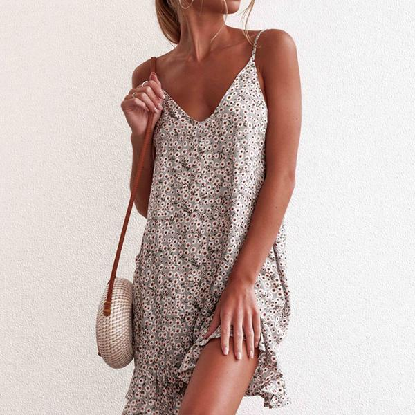 Casual Sleeveless Ruffle Hem Dress