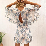Casual Printed Backless Ruffle Sleeve Dress